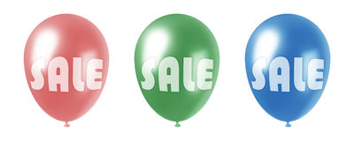 Sale balloons. Set of three balloons of red, green and blue colors with SALE inscription on them Royalty Free Stock Photo
