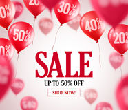 Sale balloons vector background. Flying red balloons with 50 percent off. In the background for event and store promotion. Vector illustration Royalty Free Stock Photos