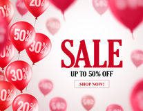 Sale balloons vector banner design. Flying red balloons with 50% off. In white background for store discount promotions. Vector illustration Royalty Free Stock Photography