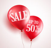 Sale balloons vector design with 50% off red color in white background. For store event and marketing promotion. Vector illustration Stock Image