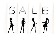 Sale baner med modekvinnor vektor illustrationer
