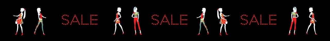 Sale baner med modekvinnor stock illustrationer