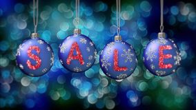 Sale baner på blåa julbollar med den runda snöflingan på bokehbakgrund 4K arkivfilmer