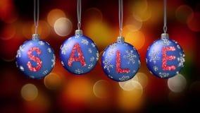 Sale baner på blåa julbollar med den runda snöflingan på guld- bokehbakgrund 4K lager videofilmer