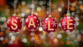 Sale baner på blåa julbollar med den runda snöflingan på guld- bokehbakgrund 4K stock video