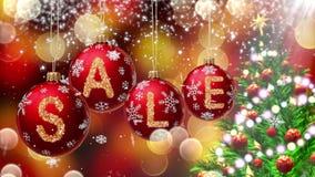 Sale baner på röda julbollar med den runda snöflingan på bokehbakgrund 4K stock video