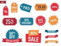 Sale baner ställer in, avfärdar kuponger och etiketter, rabattsymboler Royaltyfri Bild
