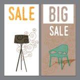 Sale baner, vektorillustrationer, affischer Arkivfoto