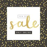 Sale banerdesign med guld- beståndsdelar Royaltyfri Bild