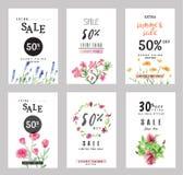 Sale banersamling för sociala massmediabaner, rengöringsdukdesign, shoppa som är on-line, affischer Arkivbild