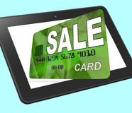 Sale Bank Card Calculated Shows Retail Bargains And Discounts Royalty Free Stock Image