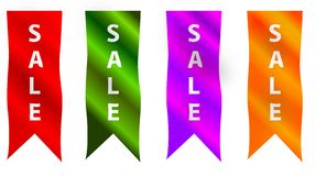 Four vertical sale ribbons or banners Stock Photos