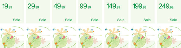 Sale banner. With prices and floral elements Stock Photos