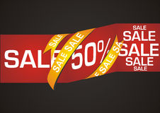 Sale banner. 50% sale banner on black background Royalty Free Stock Photos