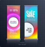 Sale banner. Abstract business vector of roll up stand design with colourful background for, show, expo, shopping. stock illustration