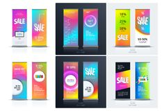 Sale banner. Abstract business vector of roll up stand design with colourful background for, show, expo, shopping. vector illustration