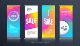 Sale banner. Abstract business vector of roll up stand design with colourful background for, show, expo, shopping. royalty free illustration