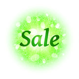Sale banner on abstract explosion background with green glittering elements.. Burst of glowing star. Dust firework light effect with glow. Sparkles splash Royalty Free Stock Photography