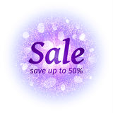Sale banner on abstract explosion background with purple glittering elements. Burst of glowing star. Dust firework light. Effect with glow. Sparkles splash vector illustration