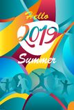 2019 European Championship Soccer Hello Summer Holiday Kids Sport Camp Abstract fluid color background advertising banner travel royalty free illustration