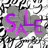 Sale banner with abstract intertwining lines. Big bright gradient letters Stock Photos