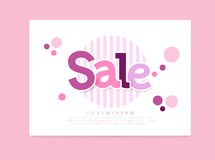 Sale banner. Sale Abstract vector card. pink and purple letters sale, strips & circles. EPS 10 illustration Stock Photography