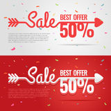 Sale banner with an arrow Stock Photography