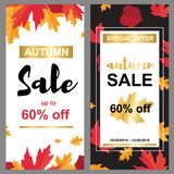 Sale banner with autumn leafs stock illustration