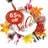 Sale banner with autumn leaves, cosmetics and Rowan berries. Vector Royalty Free Stock Photography