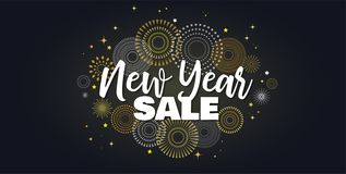 Sale banner background for New Year shopping sale. Happy New year sale lettering on sky full of gold fireworks. Design. Sale banner background for New Year vector illustration