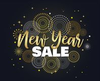 Sale banner background for New Year shopping sale. Happy New year sale lettering on sky full of gold fireworks. Design. Sale banner background for New Year stock illustration