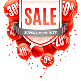 Sale Banner with Balloons Stock Image