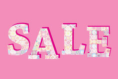 Sale banner. Big summer sale skicker over pink background. Bussines retail design element Stock Photos