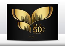 Sale Banner, Billboard, Brochure flyer for cosmetics, Banner design Template vector illustration. Display, advertisement layout, poster, card, Cover, magazine royalty free illustration
