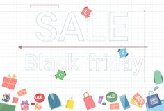 Sale Banner Black Friday Discounts With Gift Boxes On Background Holiday Shopping Poster Concept. Vector Illustration Vector Illustration