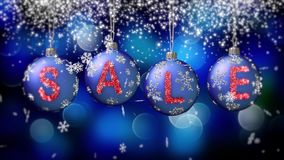 Sale banner on blue Christmas balls with round snow flake on bokeh background. 4K stock video footage