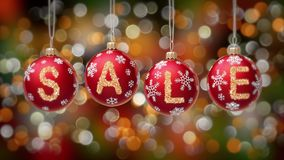 Sale banner on blue Christmas balls with round snow flake on gold bokeh background. 4K stock video