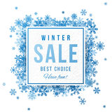 Sale banner with blue snowflakes Royalty Free Stock Photography