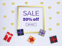 Sale banner with box gifts with ribbons and gold glitter hearts. Gold frame. Place for the text. Template for the decoration prese vector illustration