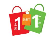 Free Sale Banner Buy One Get One Free. Sale Banner Text On Shopping Bags Stock Images - 114969164