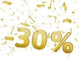 Sale banner card with 30 percent and gold confetti. Vector. Sale banner card with 30 percent and gold confetti. Vector Royalty Free Stock Photos