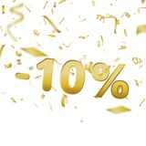 Sale banner card with 10 percent and gold confetti. Vector. Sale banner card with 10 percent and gold confetti. Vector Stock Image