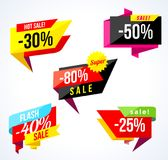 Sale Banner Collection. Colored Stickers And Banners. Geometric Shapes And Confetti. Big Set Of Beautiful Discount And Royalty Free Stock Photography