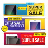 Sale Banner Collection Vector. Mobile Phone. Website Color Web Banners Design. Advertising Element. Shopping Backgrounds Royalty Free Stock Image