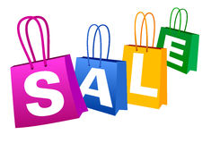 Sale Banner. Concept Sale Banner with Shopping Bags Stock Photos