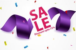 Sale banner with confetti. Illustration of Sale banner with confetti Stock Photos