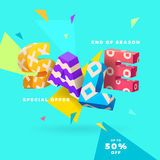 Sale banner, 3D letters and abstract shapes Stock Photo