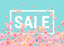Sale banner design with beautiful flowers - easter sale -abstrac. Sale banner design with beautiful flowers - easter sale - cherry blossom on green background Royalty Free Stock Photography