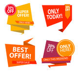 Sale banner design. Collection of colored banners for promotion, Stock Images