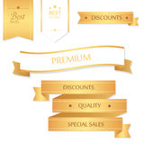 Sale banner design. Collection of golden banners for promotion, Royalty Free Stock Photos